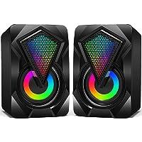 Casse PC,6W Altoparlante USB Stereo Speaker 2.0 RGB Gaming Cassa Portatile per Notebook Laptop Perfetto per School Home…
