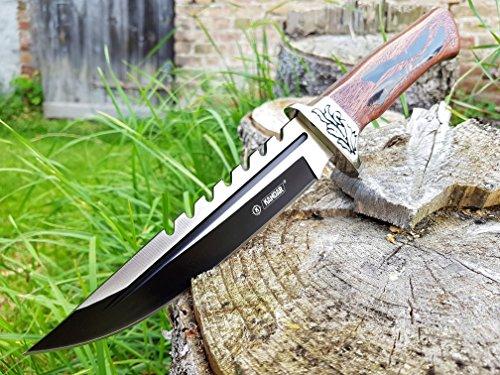 33cm großes & solides edel Jagdmesser - Outdoor - Survival - Angel - Camping - Messer - Hunting Knife - mit Sägezahnrücken & Blutrinne