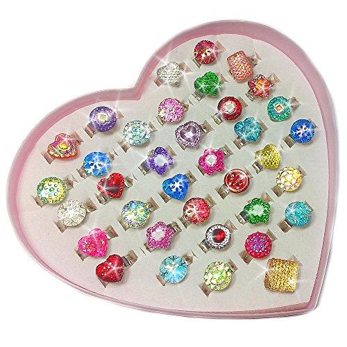 German Trendseller® - 12 x bagues scintillant┃mélange de différentes formes et couleurs┃ l'anniversaire d'enfants┃ idée cadeau