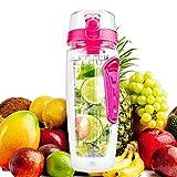 bennyuesdfd Wasserflasche Frucht Infuser Sports Trinkflasche 1Liter Auslaufsicher Deckel mit