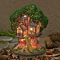 Garden Glows Fairy Dwelling - THE HOME OF HEMLOCK BEAMWITCH - Fairy Treehouse - for indoor outdoor use - with 3 solar powered LEDs