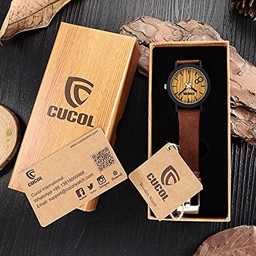 CUCOL Eco Faux Wooden Dial Watches for Men and Women Leather Band Casual Design Brown Color