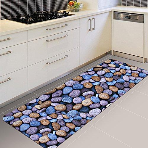CLG-FLY anti-slittamento in strisce la cucina soggiorno porta porta porta tappetino piede bagno acqua-Tappetini assorbenti,40*60cm+45*120cm,3D Stone