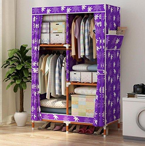 GL&G Kleiderschrank Wandschrank Portable Oxford Tuch Free Standing Storage Organizer - Home-Finishing-Dekoration Portable, abnehmbar und Massivholz leichte Kleidung Schrank,C,39'' *63''