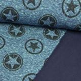 Softshell Stoff meliert Sterne im Kreis Jeansblau - Preis