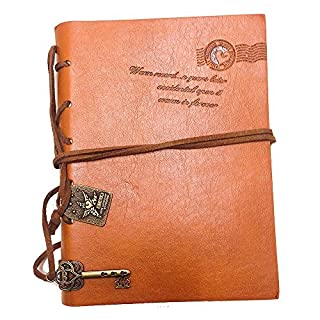 Aitao Retro Vintage Classic Leather Bound Notebook Journal Diary String Key