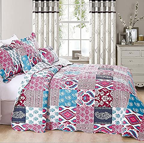 Beautiful Floral Vintage Patchwork Quilted Bedspread/Throw with 1 Pillow Shams (Cecilia) (Single)