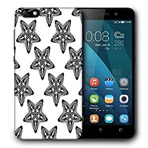 Snoogg Black Starfish Printed Protective Phone Back Case Cover For Huawei Honor 4X
