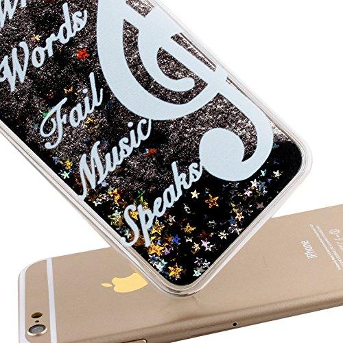 iPhone 6S Plus Coque ,iPhone 6 Plus Coque,iPhone 6S Plus Case,iPhone 6 Plus Case,EMAXELERS iPhone 6S Plus 6 Plus Liquid Coque,Hard Plastique Coque Etui Housse pour iPhone 6S Plus,Cute coloré Étoiles D W Black Liquid 3