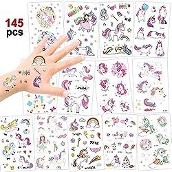 Konsait 145 Tatuajes temporales Unicornio, Fiesta Unicornio Arco Iris Tatuajes Pegatinas para Niños Niñas Fiestas Infantiles Cumpleaños de Niños Regalo Piñata (13 Unidades)