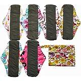 7pcs Set 1pc Mini Wet Bag +6pcs 10 Inch Regular Charcoal Bamboo Mama Cloth/ Menstrual Pads/ Reusable Sanitary Pads (Pink)
