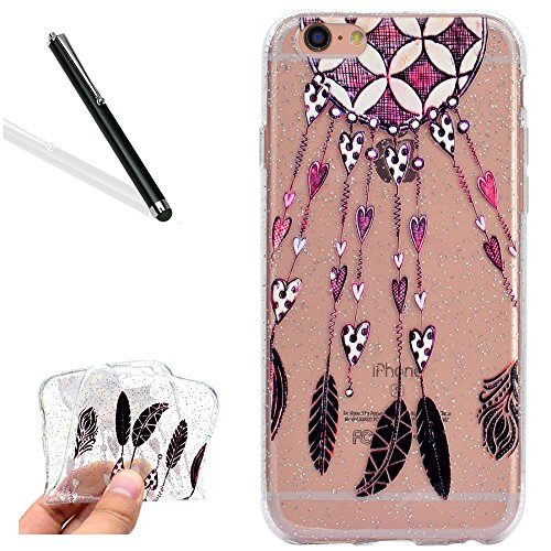 Coque pour iPhone 8 Plus,Silicone Étui pour iPhone 7 Plus,Leeook Créatif Paillettes Brillante Chat Lune Désign Ultra Mince Transparent Crystal Clear Flex TPU Doux Housse Etui de Protection Coque Coqui Plume Cœur