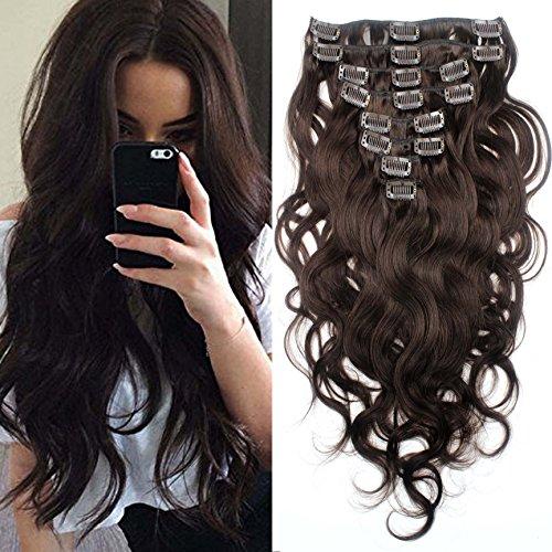 SHINING STYLE Body Wave Clip In Extensions Echthaar Gewellt Haarverlängerung Set - 8 Haarteile - 120g - 60 cm - Haarfarbe: Dunkelbraun #2