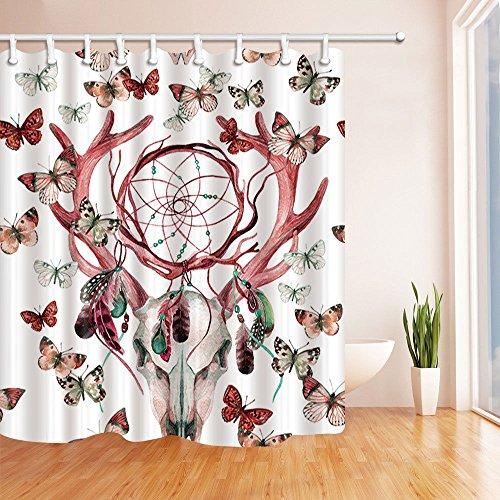 hdrjdrt Ciervo Atrapasueños Mariposa Cortina de Ducha decoración Impermeable hogar Creativo Arte protección del Medio Ambiente tamaño 180x180cm