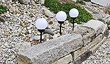F-H-S International 3X LED Solar Kugel 15cm Gartenlampe Gartenleuchte Leuchtkugel Erdspieß