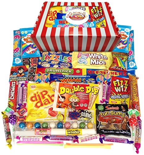 Retro Sweets Gift Box! Candy Striped Sweet Hamper 770g Double Bubble Gum