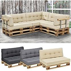 [en.casa] Set de 2 cojines para sofá de palés - cojín de asiento + cojín de respaldo [beige] sofá de europalés para interior/ exterior