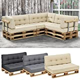 [en.casa]® euro-pallet sofa/ 1 x back rest cushion / pad / outdoor indoor / garden furniture / water-resistant / beige
