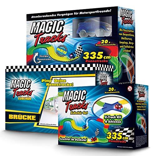 Magic Tracks Großes Set | Autorennbahn für Kinder ab 3 Jahren | Autobahn Kinder | Auto Spielzeug | Rennbahn Leuchtend