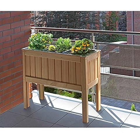 Jardinière - Carré potager surélevé avec 3 bacs, en bois de mélèze 100 x 37 x 80 cm pour balcon, terrasse de Gartenpirat®