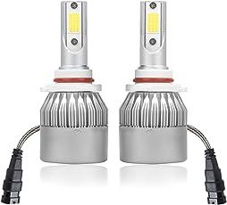 AllExtreme C6-9005 36W LED Car Headlight Bulbs 3800LM 6000K White Hi/Low Beam - Set of 2