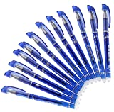 Radierbarer Kugelschreiber - Radierstift Blau 12 Stück | Radierbar - Schnell Trocknend | 0,5mm Stifte mit Radiergummi