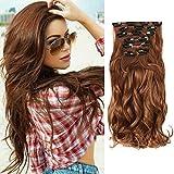Extension per capelli, composta da 7 pezzi con fermagli integrati, cappelli mossi, colore: castano scuro, con riflessi chiari, dimensioni: 55 cm