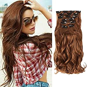 Hair Extension, Neverland 22inch Hair Extensions 7pcs 16 Clips Ombre Wavy Curly Dip Dye Hairpieces (Light Auburn)