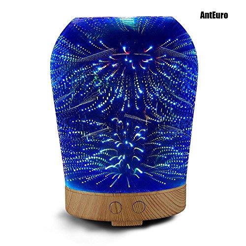 Diffuseur d'huile essentielle, AntEuro 100ml 3D Night Light LED Huile Essentielle Ultrason Cool Mist Verre Humidificateur