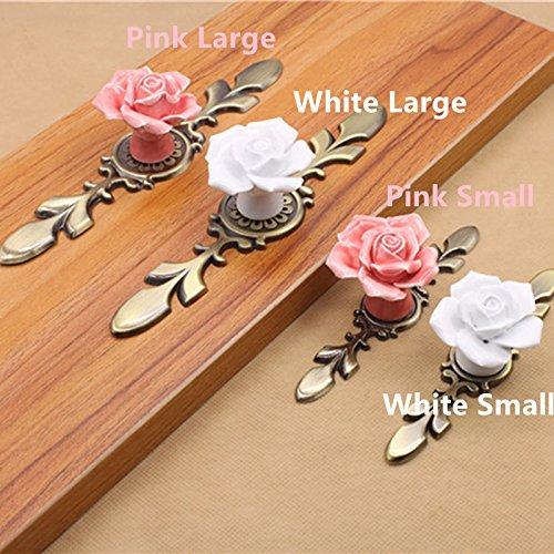 Rose Blume rosa weiß Keramik Legierung Base Türgriffe Küchenschrank Schrank Schubladenschrank Knöpfe Einloch Türgriff, Pink Große Glas Blumen Base