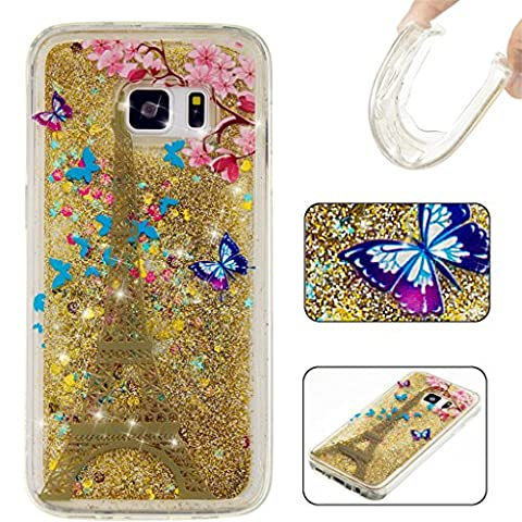 Samsung Galaxy S7 Edge Case MUTOUREN Elegant Rhinestone TPU Crystal Soft Gel Silicone Flexible Cover, Bling Glitter Design Slim Fit Anti-Scratch Shock Absorption Protective Back Case Cover Shell for Samsung Galaxy S7 Edge ( Eiffel Tower)