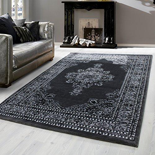 Tappeto orientale tappeto orientale medaglione tradizionale a macchina tessuto grigio, maße:120x170 cm