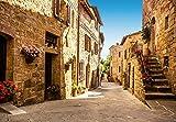 Fototapete TUSCANY VILLAGE 366 x 254 italienisches Dorf in der Toskana, malerischer Blick in alte Gasse