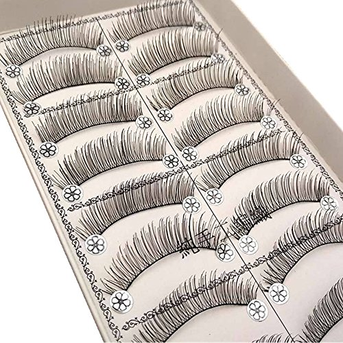 wyxhkj faux cils Handmade Natural Fashion Long False Eyelashes For Makeup 10 Pairs (F)