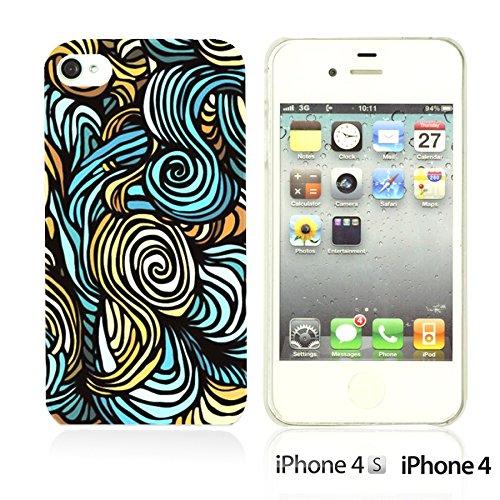 OBiDi - Geometrical Pattern Hardback Case / Housse pour Apple iPhone 4S / Apple iPhone 4 - Funny Tribal Print Blue Wave