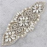 Diamantes de Imitacion Cinturon Bordado con Cristales Perlas Adornos Elegantes Authentic Gorgeous para Nupcial de la Boda Sash Vestidos de Mujeres - Plata