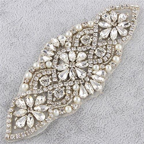 Diamantes de Imitacion Cinturon Bordado con Cristales Perlas Adornos Elegantes Authentic Gorgeous para Nupcial de la Boda Sash Vestidos de Mujeres   Plata