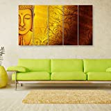 Inephos Vinyl Multiple Frames Beautiful Buddha Wall Painting For Living Room/Bedroom/Office/Hotels/Drawing Room, 150x76cm (Yellow)