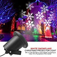 Christmas Projector Lights, Dreamix Waterproof Moving White Snowflakes Star LED Landscape Projector Lamp Spotlights Outdoor for Christmas Holiday Home Party Wall Garden Decoration (Snowflake-White)
