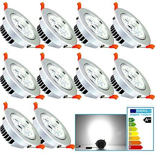 VINGO® 10 Stücke 7W LED Einbauleuchte Dimmbar Kaltweiß Einbaustrahler Spot Energiesparlampe Set Rahmen Silber 230V