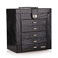 BELLAMORE GIFT Large Leather Jewelry Box/Organizer for Women, Gift Box for Necklaces, Bracelets, Watches, Earrings, Rings
