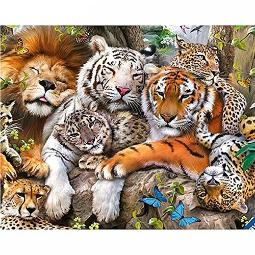 Full Diamond 5D DIY Diamant Malerei, Tiger Löwe Leopard