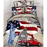 Juegos de cama de tamaño king Home Textile 3d mundo Landmark Diosa de la libertad Big Ben de bandera americana 4Pcs cama, funda de edredón de cama Regalo Funda de almohada (100% algodón de Navidad Peluche No incluye