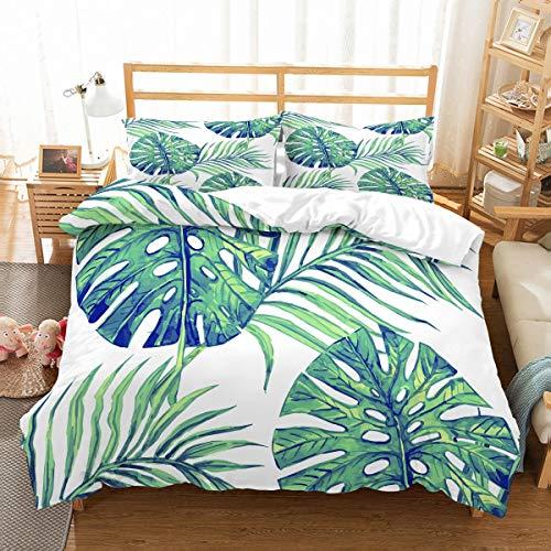 MOUMOUHOME 3 Stück Bettwäscheset,3D Tropische Pflanzen Grüner Baum Blätter Drucken Tagesdecke Weiße Bettwäsche Set mit Reißverschluss,1 Bettbezug 2 Kissenbezug,Keine Bettdecke -