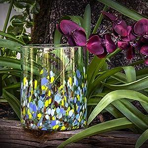 Glasmanufaktur Mitienda, Vase, Glas, 24 cm, Confetti bunt, Blumenvase, mundgeblasene Vase aus Mexiko, Glas-Recycling