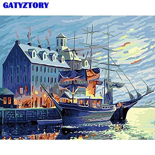 Kein Rahmen Von Kit Saiing Boot Landschaft Wandkunst Bild Färbung Von Für Home Deco Ar60x90cm
