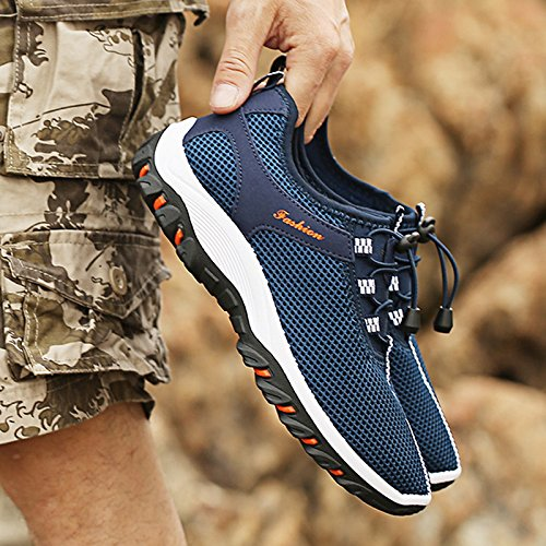 Scarpe da ginnastica da uomo ultraleggere in rete traspirante, per escursioni e arrampicate Blu scuro