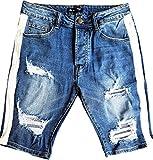 Herren Jeans Shorts Bermuda Destroyed Style Capri Kurze Cargo Denim Blau Sommer Sporthose Freizeithose Hose m Shirt Neu (32, Blau/Destroyed Jeans)