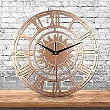 ZYUEER Horloge Pendule Murale Style Vintage - diamètre 30 cm Pas Cher (Or)