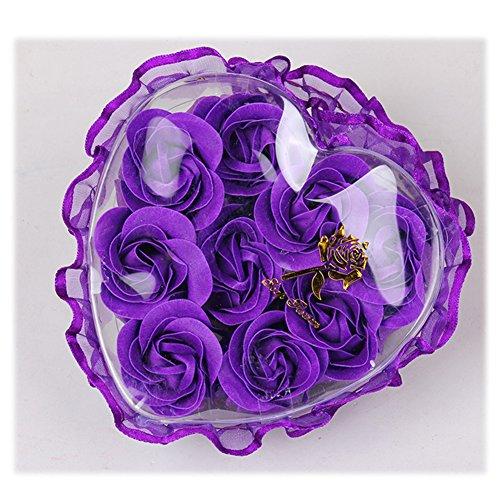 Yiilisu 5 set/lot Rose Sapone Fiore Romantico Bagno Doccia Regali Decorazione Petali del Sapone di Nozze in Regalo Confezione (viola)